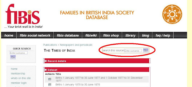 Times of India births, marriages and deaths search page