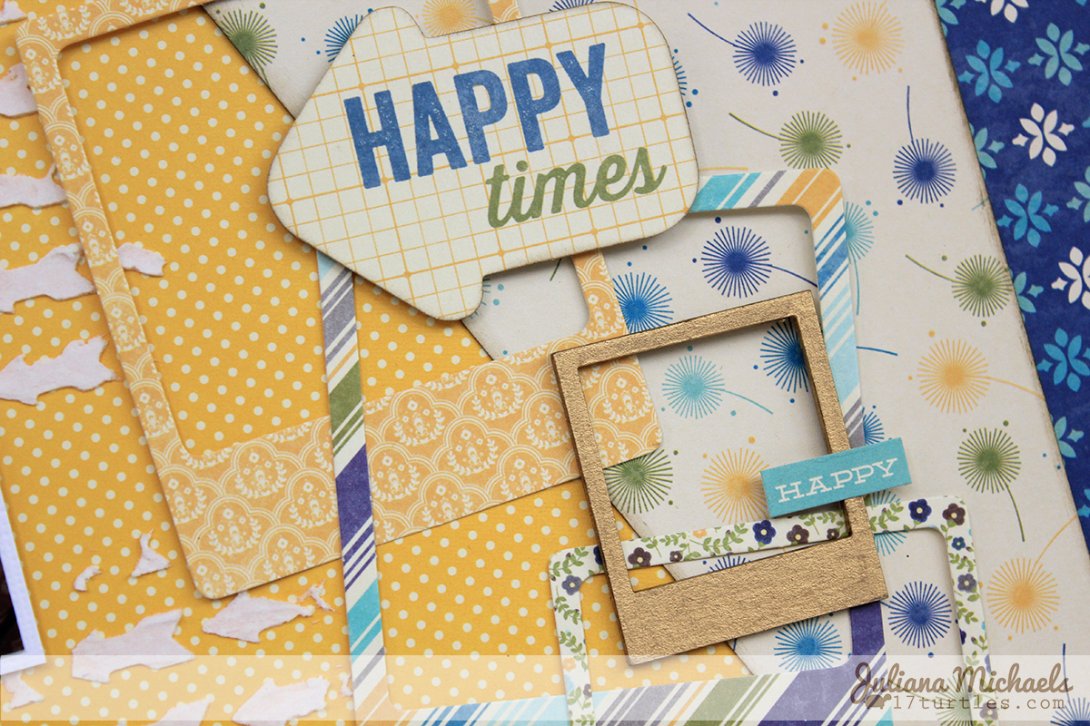 Use of Die Cuts and Chipboard Frames on Scrapbook page by Juliana Michaels