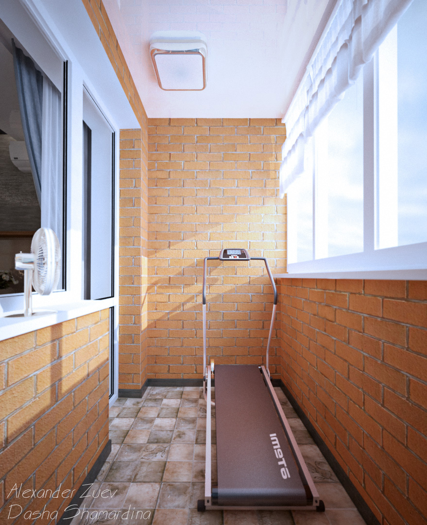 Интерьер балкона из кирпича - дизайнерини.