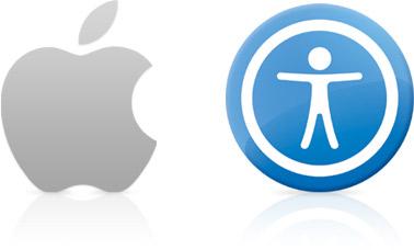 descrição da imagem: imagem retangular. fundo branco com apenas dois elementos. do lado esquerdo o simbolo da empresa Apple, que é uma maçã prateada sem um pedaço em meia-lua como se tivesse sido mordida. Do lado direito, um circulo azul e no meio um boneco branco de braços abertos, sem detalhes. simbolizando a acessibilidade dos produtos.