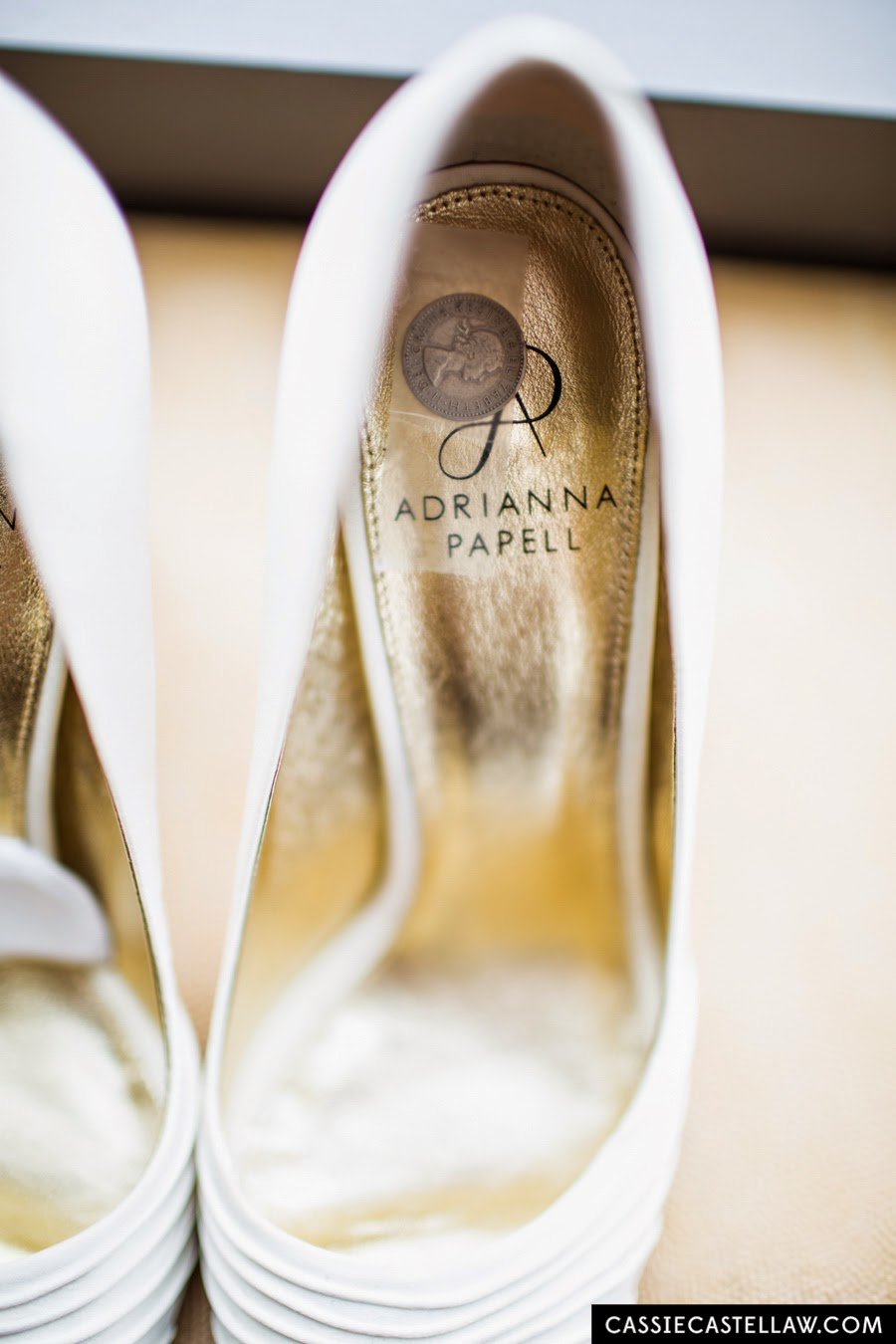 Six pence in her shoe. Adrianna Papell bridal wedding shoes. NYC Lifestyle wedding photography by Cassie Castellaw. www.cassiecastellaw.com