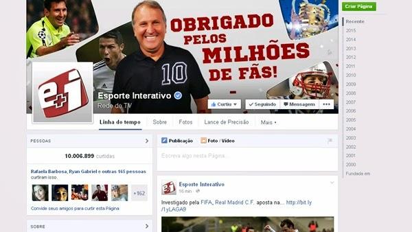 Esporte Interativo atinge 10 milhões de fãs no Facebook