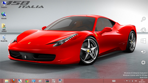 Ferrari 458 Italia Theme For Windows 7 8 9 Blue