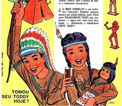 Propaganda do Toddy em 1967 onde distribuíam índios de plástico dentro das embalagens.
