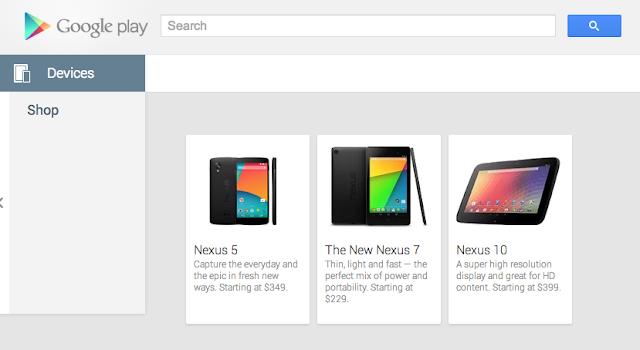 Google Nexus 5 listing