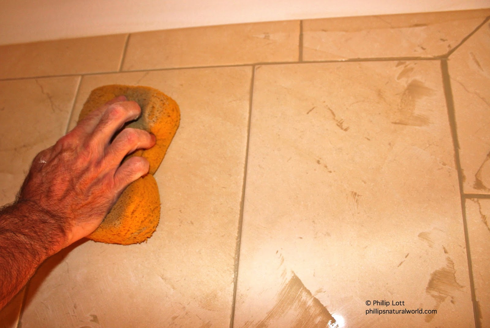 Luxury After the tiles were all floated the entire bathroom was sealed with grout sealer