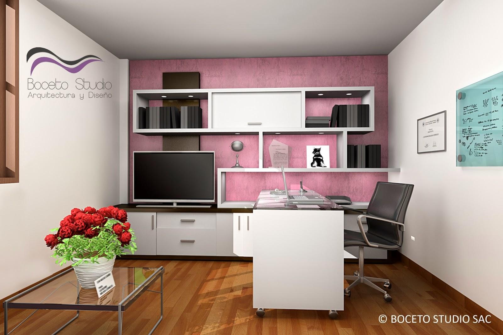 Boceto studio arquitectura y dise o cuarto de estudio y for Habitacion de estudio