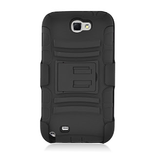 Samsung Galaxy Note 2 II Rugged Holster Case With Kickstand (Black)