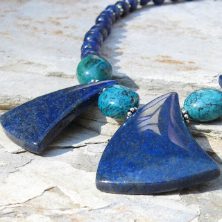 Rays of lapis and turquoise necklace by MarlaFayeCreations on Etsy