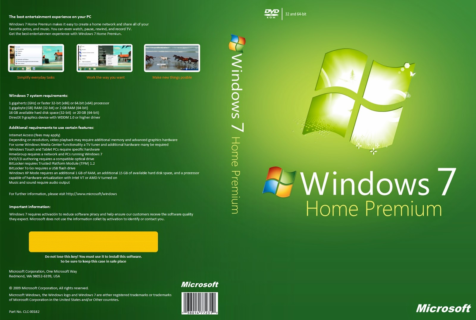 Windows customs windows 7 home premium x86 service pack 1 for Home on windows