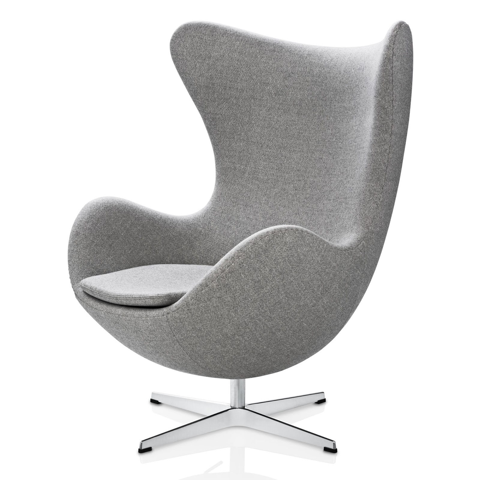 egg chair in light grey ducale fabric by fritz hansen. Black Bedroom Furniture Sets. Home Design Ideas
