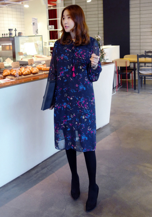 Abstract Print Drawstring Neck Midi Dress
