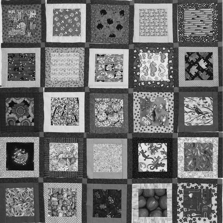 Robin Atkins, I Spy quilt, possible layout showing values in grey scale
