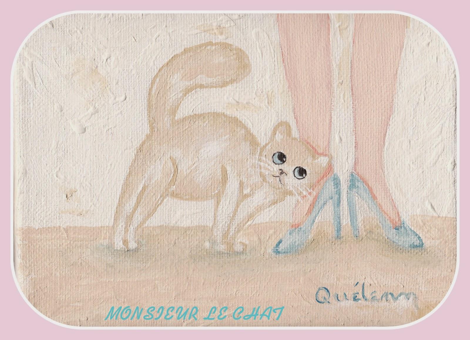 ailurophile, peinture de chat, Joëlle QUELENN