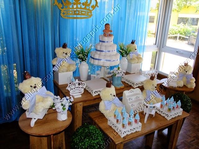 decoração chá bebê ursinhos príncipes provençal