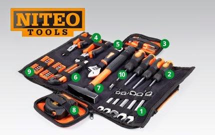 Zestaw narzędzi podstawowych Niteo Tools w torbie z Biedronki