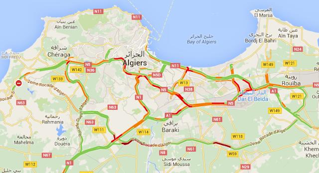 أخيرا يمكنك معرفة حركة المرور في الجزائر العاصمة مباشرة في خرائط google