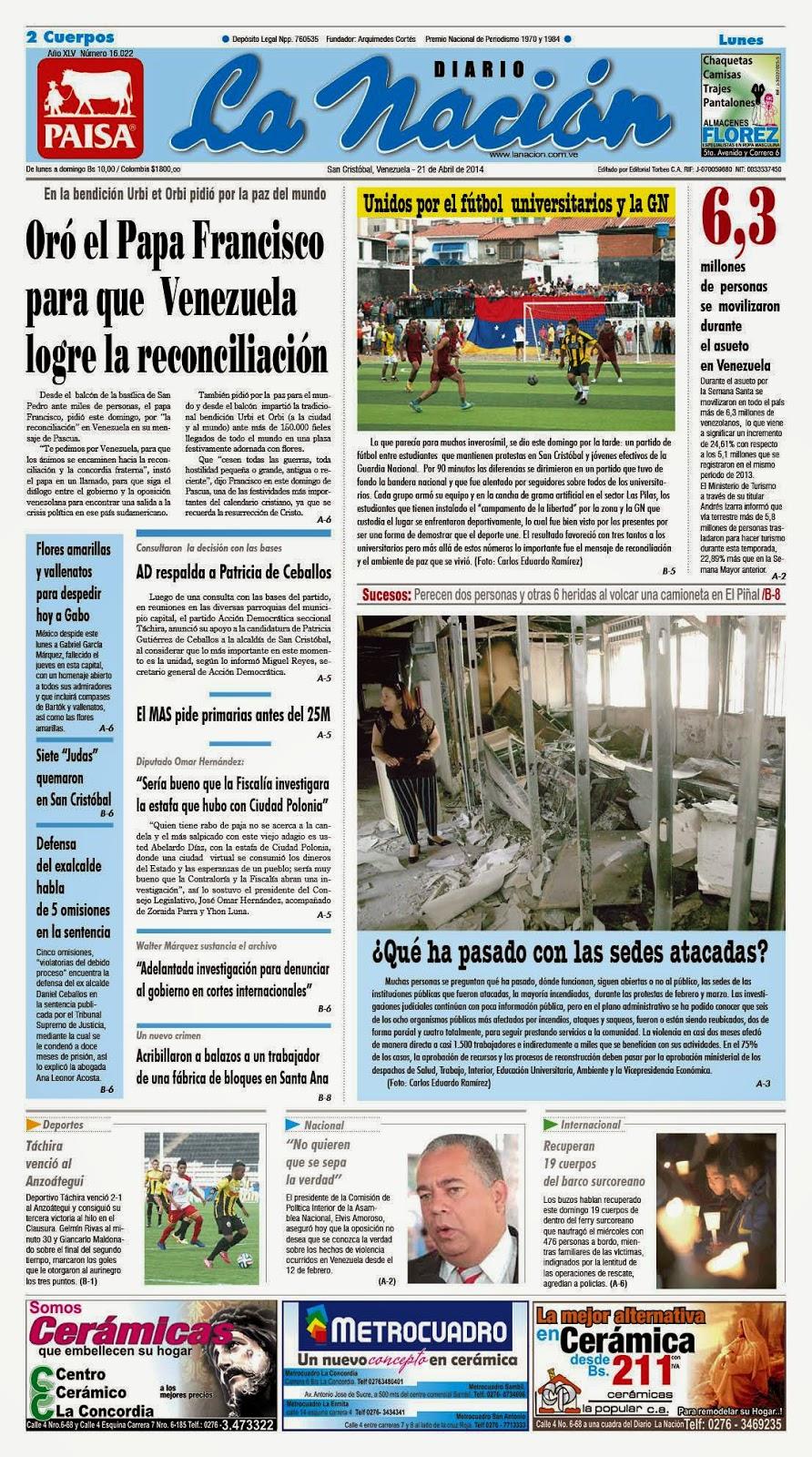Portada Diario La Nación del Táchira edición impresa lunes 21Abr2014 | NOTICIAS NOTISAN!