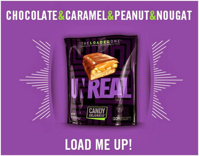 CLICK to order UNREAL chocolate caramel nougat bars with peanuts from Amazon.