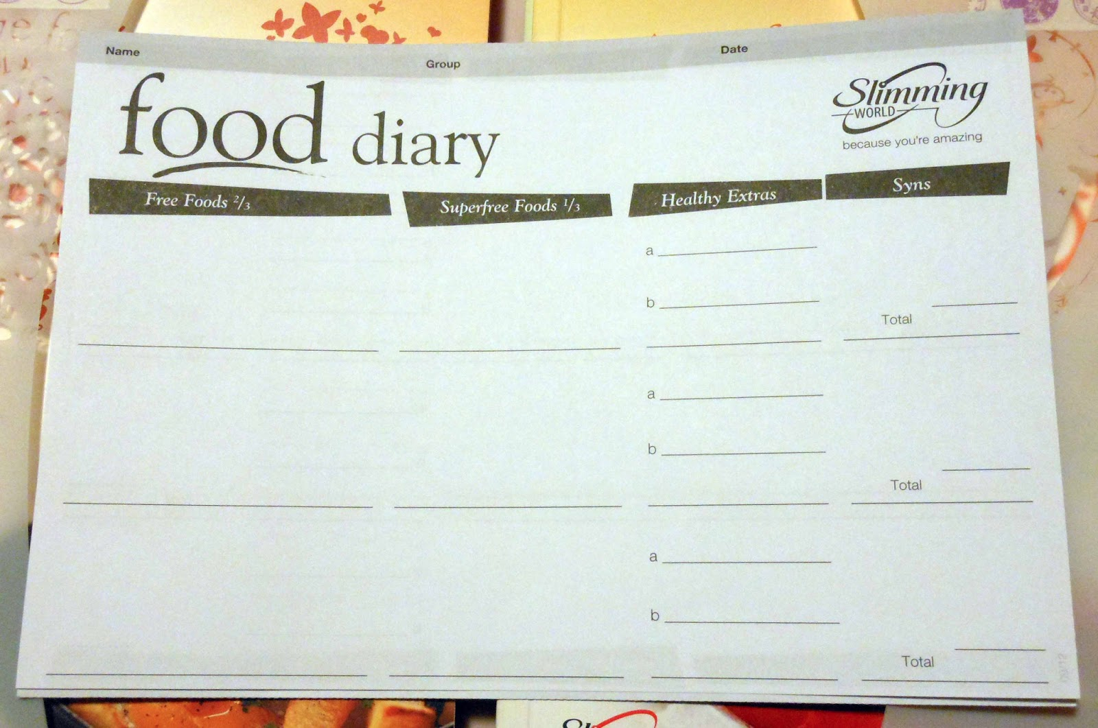 Slimming World Daily Diary