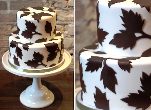 Wedding Cake with Fall Leaves