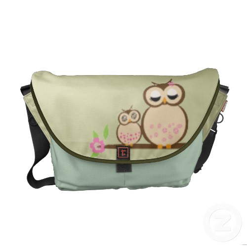 Cute Mom and baby owl rickshaw_messengerbag