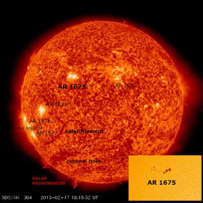 ERUPCION SOLAR MANCHA SOLAR 1675, 17 DE FEBRERO DE 2013