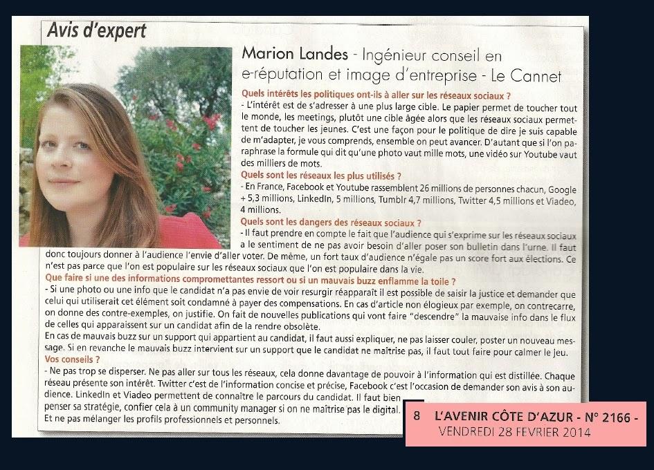 Dossier Presse L'Avenir Côte-d'Azur - Marion LANDES