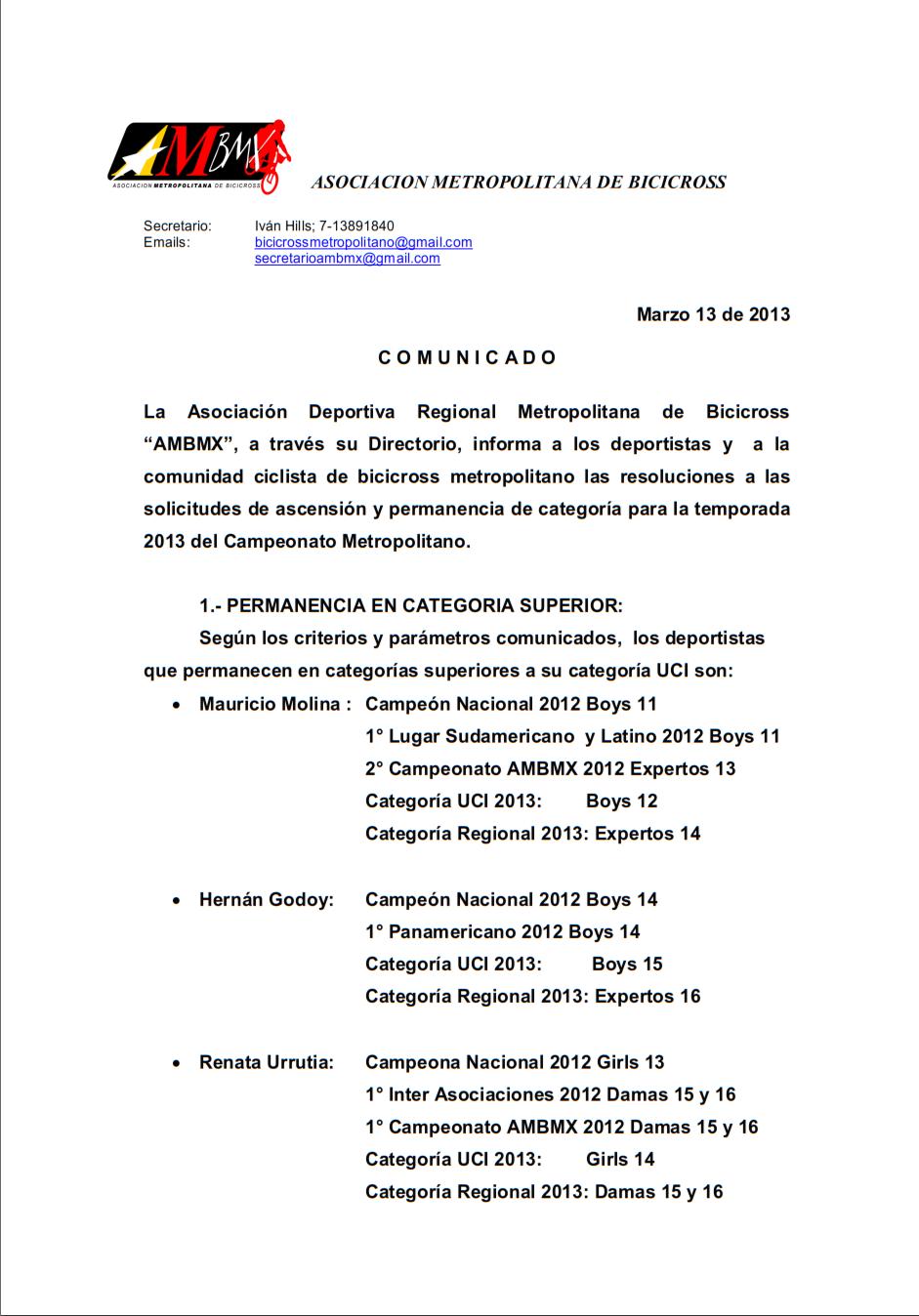 de Permanencia y Ascenso Categoría Campeonato Regional AMBMX 2013