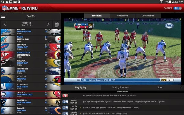 NFL Game live streaming Rewind app
