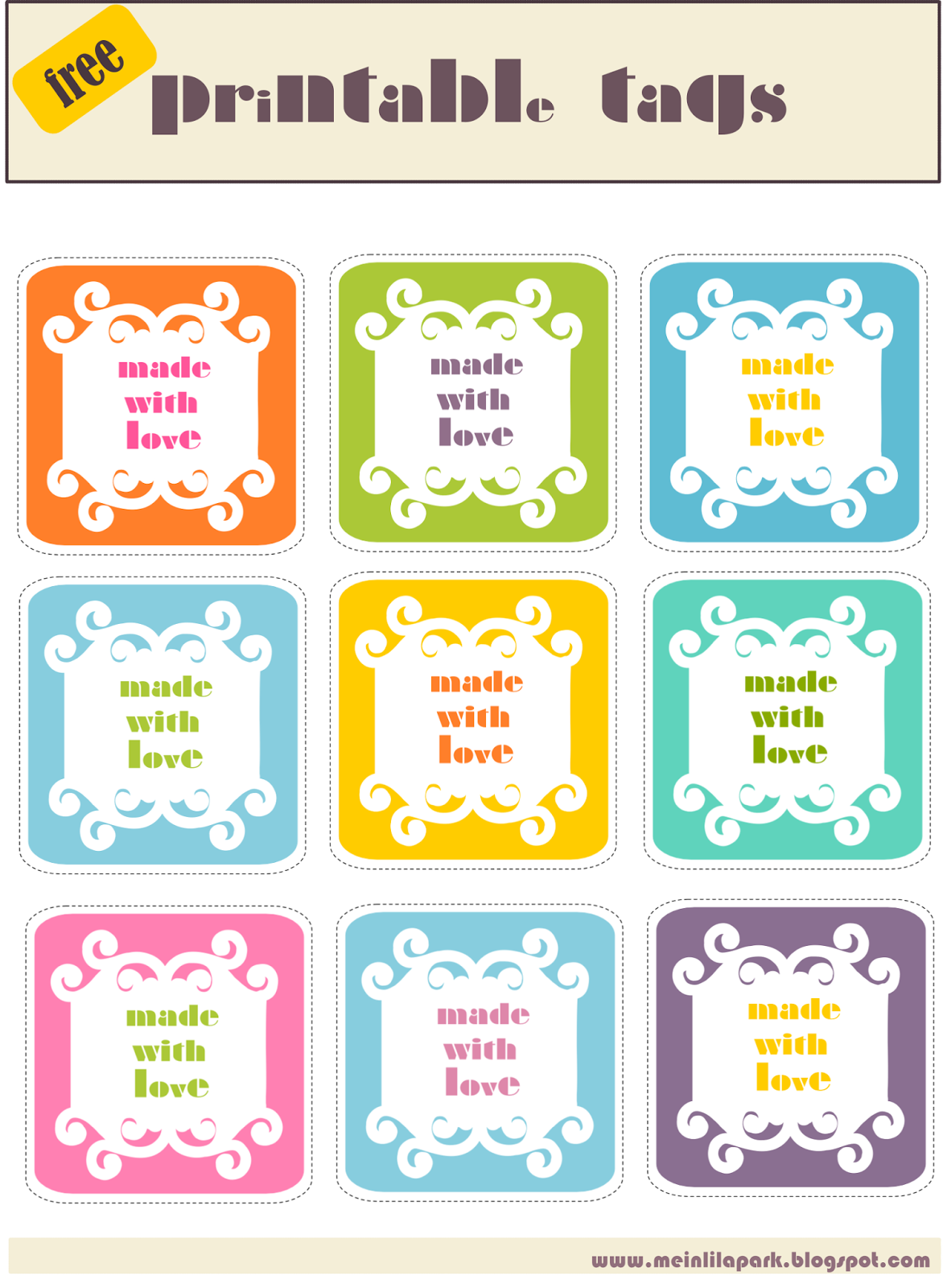 free printable made with love tags - ausdruckbare made with love ...