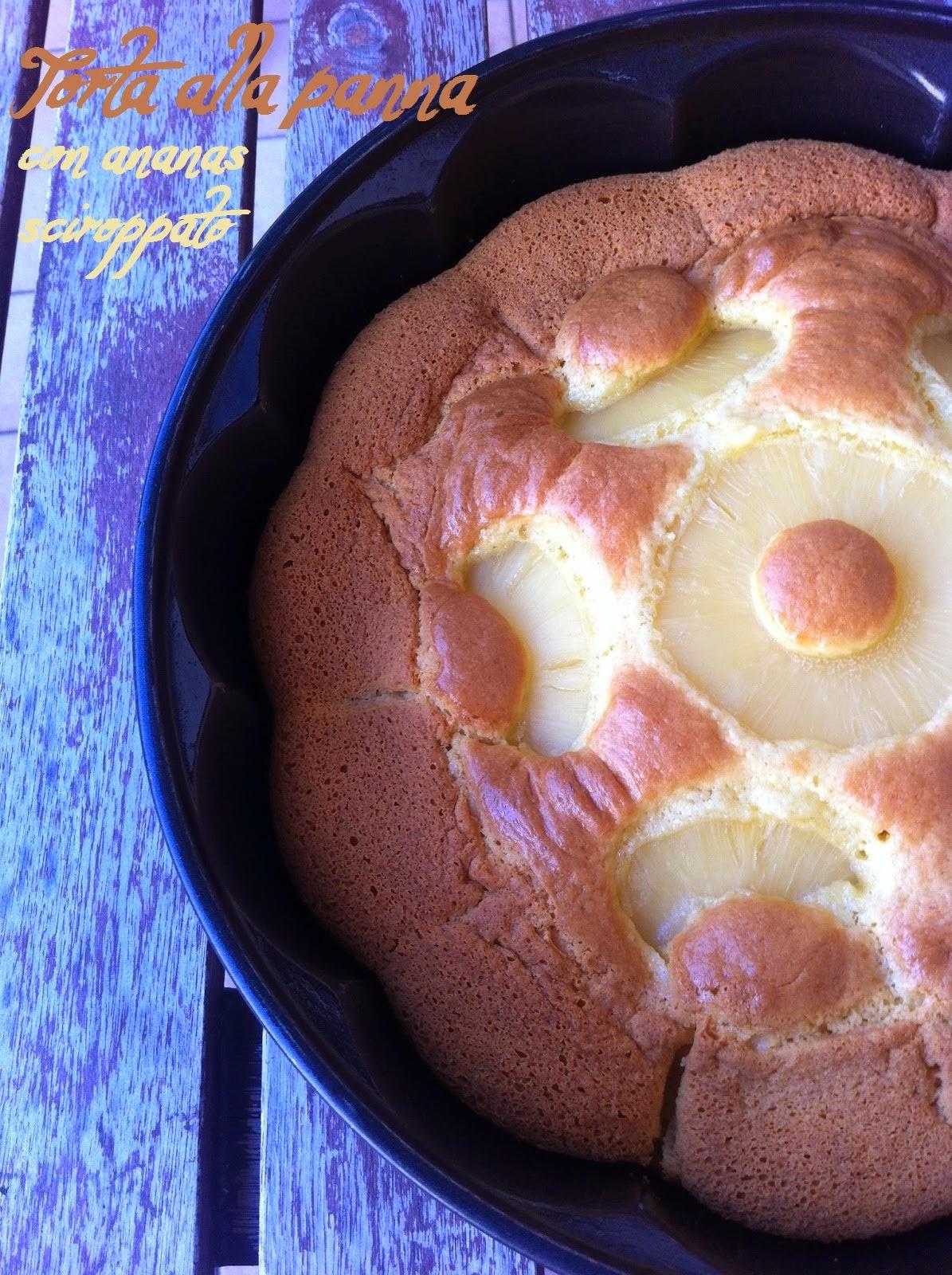 torta alla panna con ananas sciroppato