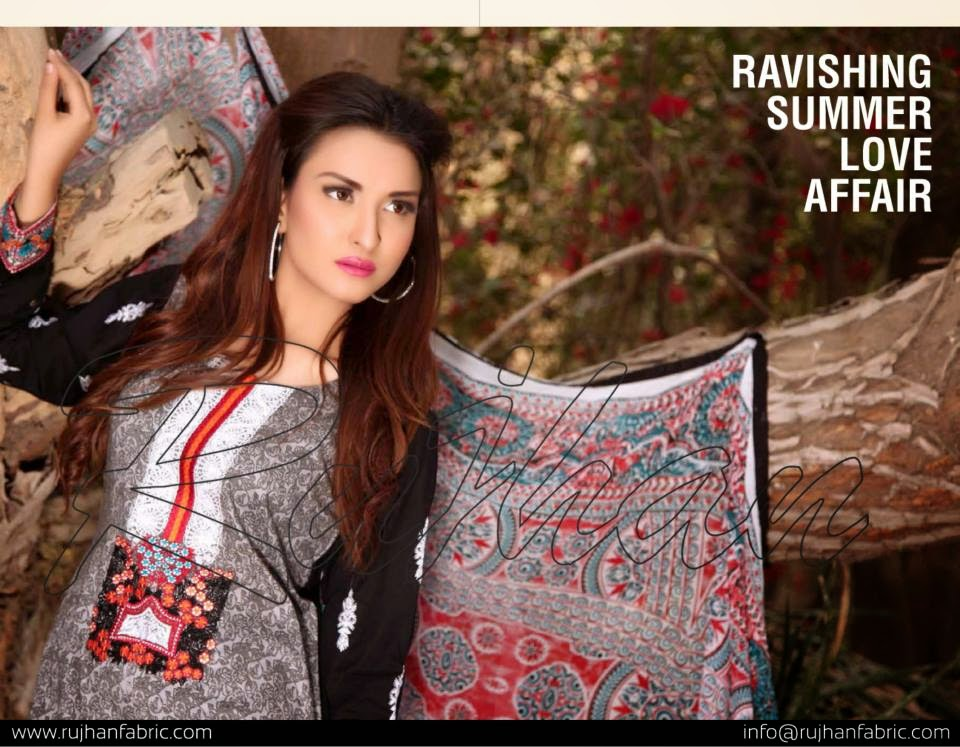 Pakistani lawn dress design 2015
