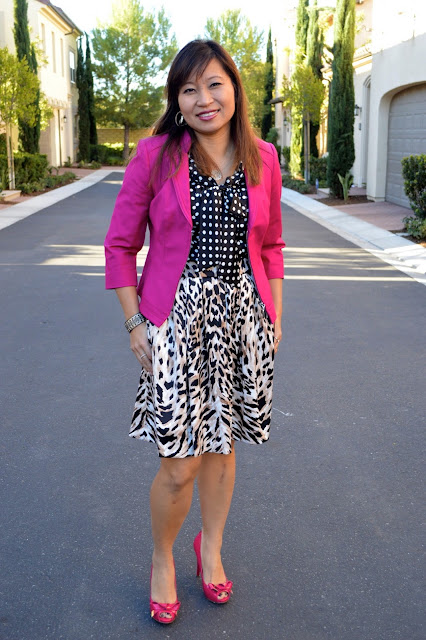 polka dots and leopard, whbm skirt, whom perfect stretch blazer, Over 40 fashion, OC blogger, 40 plus fasihion