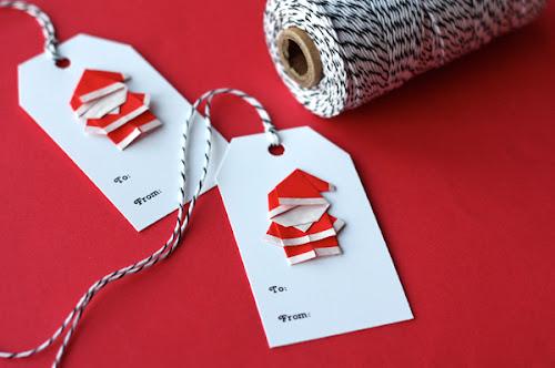 Origami santa gift tags