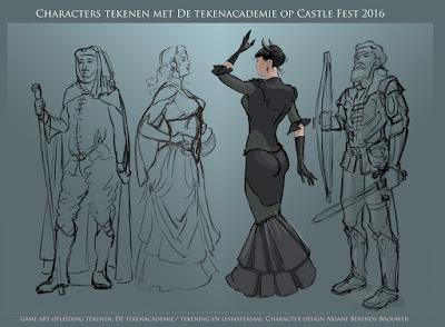 Castle Fest, Castle Fest tekenen, character design, character tekenen, characters schetsen, figuren schetsen, game art opleiding,