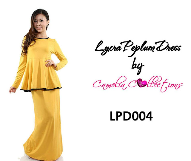 lycra peplum dress mustard