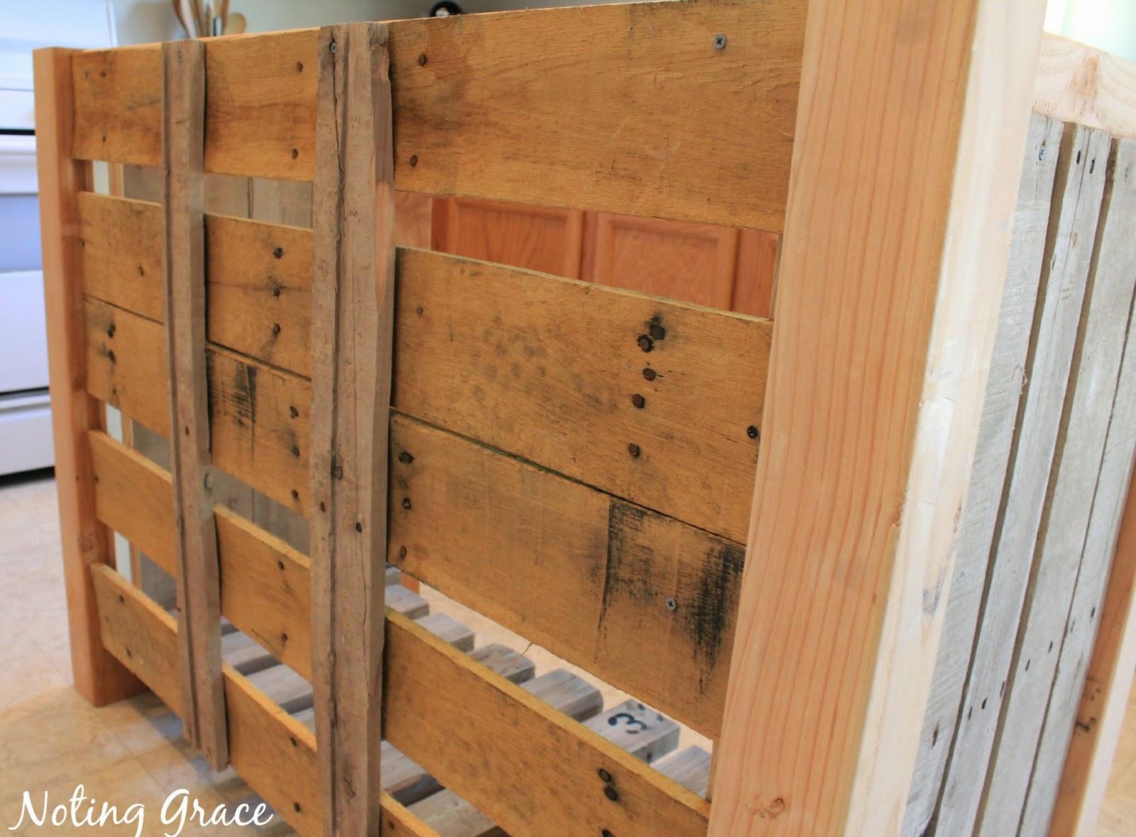 Create a DIY Pallet Wood Kitchen Island for less than $40! Full tutorial on notinggrace.blogspot.com
