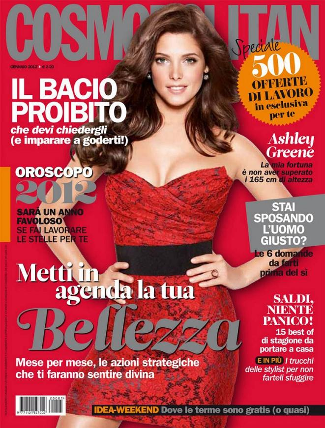 Ashley Greene is gorgeous in red for Cosmopolitan Italy, January 2012