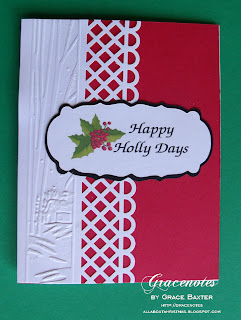red and white Happy Holly Days card