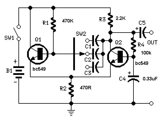simple square wave generator using transistors