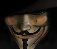 close up of v for vendetta mask