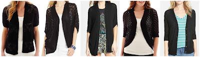 St. John's Bay Short Sleeve Crochet Shrug Sweater $19.99 (regular $36.00)  NY  Collection Pointelle Knit Lace Back Cardigan $21.99 (regular $60.00)  Sun & Shadow Dolman Sleeve Cardigan $26.40 (regular $44.00)  Liz Claiborne Elbow Sleeve Crochet Cardigan $27.99 (regular $48.00)  Caslon Three Quarter Sleeve V-Neck Cardigan $35.40 (regular $59.00)