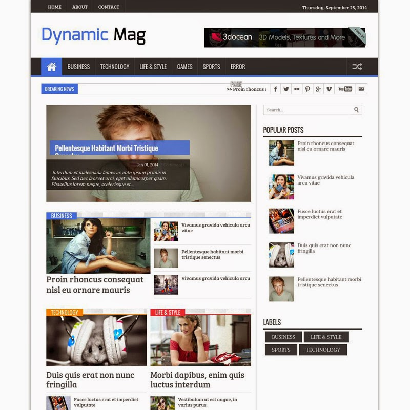 Dynamic Mag free responsive blogger template