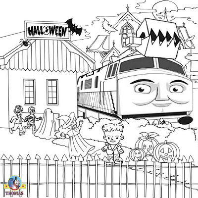 Diesel 10 Thomas the train coloring free Halloween pictures to color printable graphics for kids art