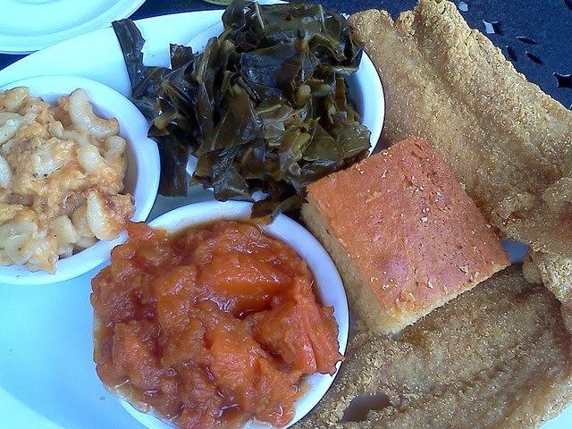 Fried Catfish, Mac n Cheese, Greens, Sweet Potatoes and Cornbread - Chicago's Famous Soul Food Dinner