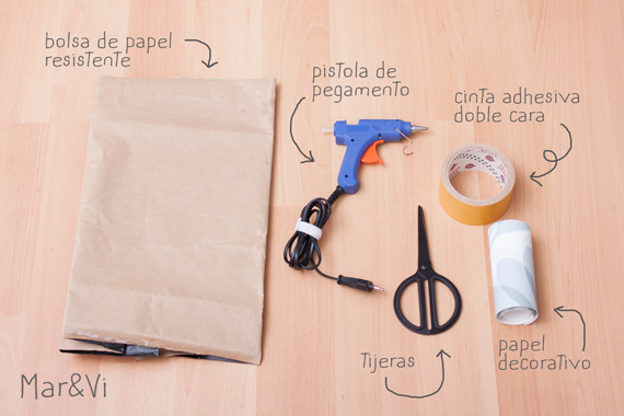 macetero de papel, materiales