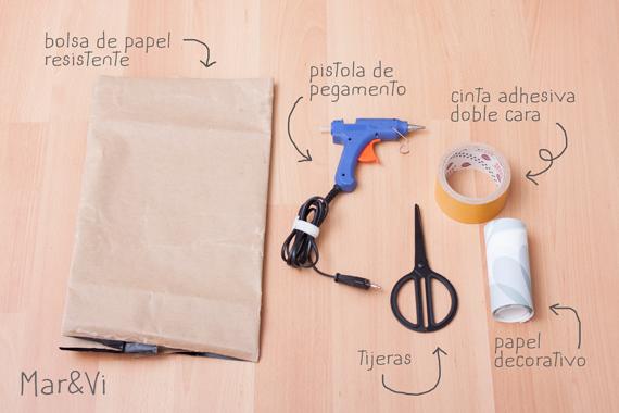 macetero de papel, materiales