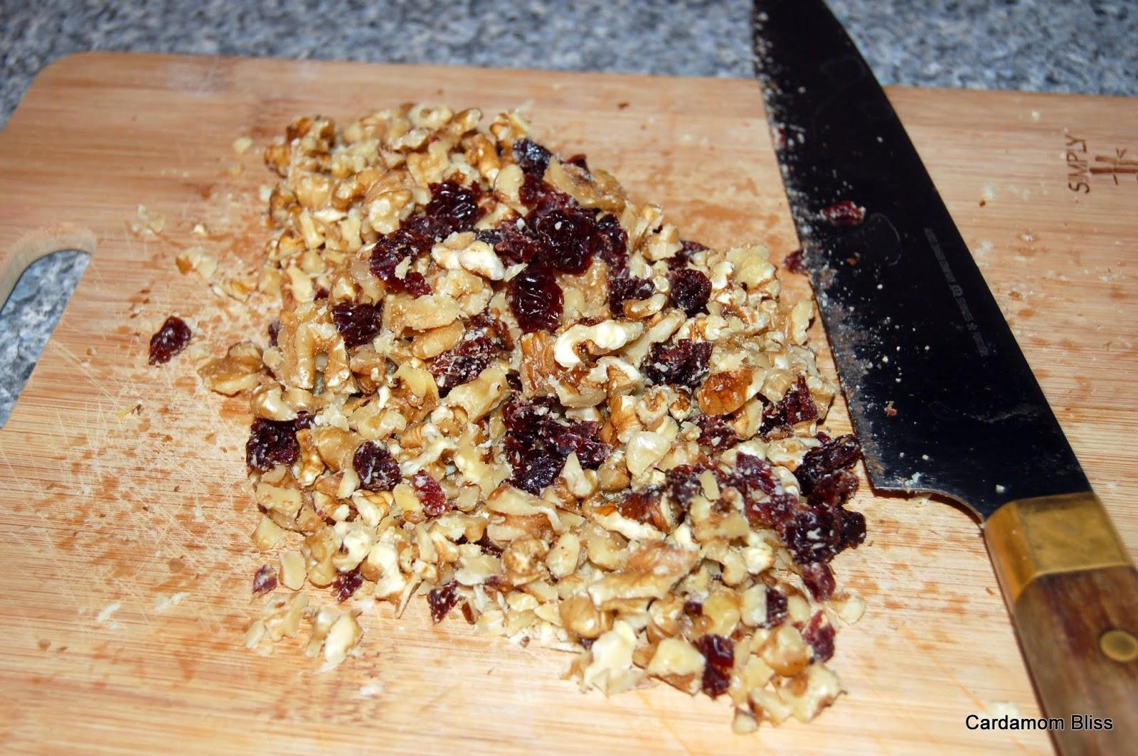 walnuts and dried cherries