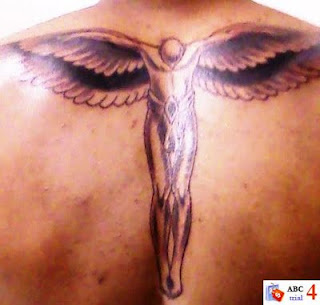 Black and Grey Ink Angel Tattoo Design for Back